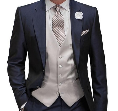 Free shipping custom made new design man groom tuxedos dark navy groomsmen best men wedding suits